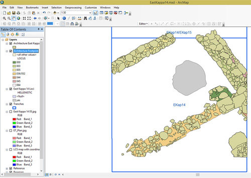 Screenshot of GIS and archaeological trench