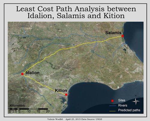 Least cost path analysis between archaeological sites