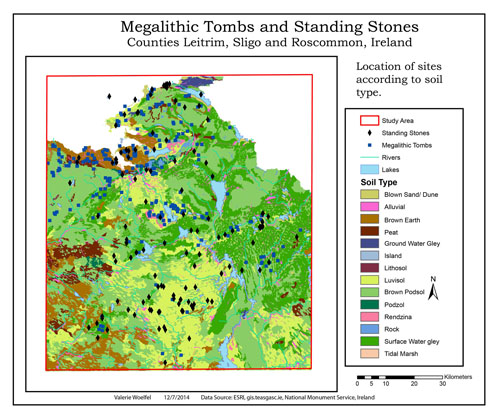 GIS model of soils, tombs and standing stones.